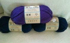 Lion Brand Yarn 3 Skeins  Midnight Blue Purple Felting