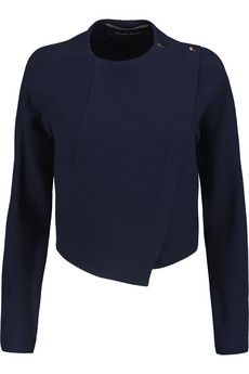 Roland Mouret Lancaster cropped wrap-effect wool jacket | THE OUTNET