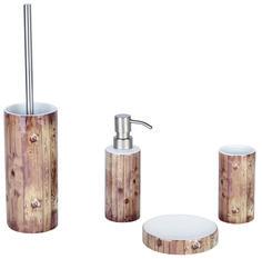 Ausgefallenes Badzubehör-Set im Holzdekor aus Keramik bestehend aus: WC-Bürste, Seifenspender, Ablage und Becher. Gesehen für € 77,50 bei kloundco.de.