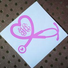 Heart Stethoscope Nurse Monogram Vinyl by RebeccaLaneGraphics