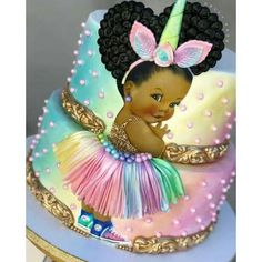TAG someone who loves unicorns and princesses! Im in love with this little unicorn princess! I decided to do something different and add a little Gateau Baby Shower, Baby Shower Cupcakes, Shower Cakes, Beautiful Cakes, Amazing Cakes, Bolo Fack, Unicorn Baby Shower, Baby Princess, Unicorn Princess