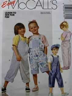 f9857c932751 Childrens Overalls Sewing Pattern McCalls 6616 In Two Lengths Size 4-5-6 by