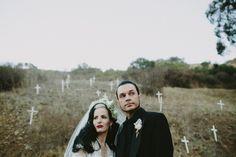 Love this! Portland real wedding mod goth bride and groom #West Coast Wedding, #Rock N Roll, #Real Wedding, #Offbeat, #Halloween, #Goth, #Dark, #California Wedding, #Ceremony and Reception, #Photo and Video, #Real Weddings