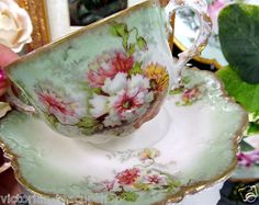 AK Limoges France Tea Cup and Saucer Double Handle Floral Teacup | eBay