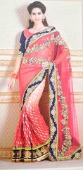 #Pink colour half net and half brasso material designer #saree #sari gives you a #traditional look with western flavor.