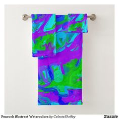 Peacock Abstract Watercolors Bath Towel Set