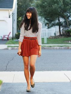 Love this easy and effortless idea for a first day of school outfit #backtoschool #style #classic #stripes