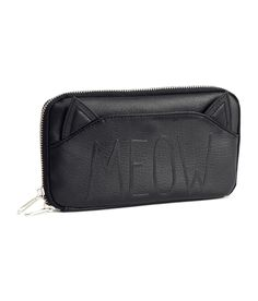 Meow! We love this black wallet with decorative text and decorative cat ears. #ACCESSORIZEINHM