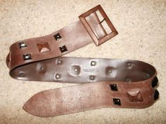 Claudio Orciani Soft Brown Leather Studded Metallic Wide Belt Size 90 #Orciani #leatherandstuds