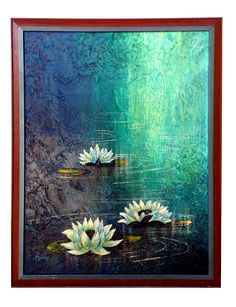 Lotus Painting, Flower Painting Canvas, Buddha Painting, Buddha Art, Mural Painting, Canvas Art, Pichwai Paintings, Indian Art Paintings, Modern Art Paintings