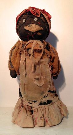 """Sweet 19th century bottle doll from Maine. It is offered in as found and delightfully worn condition. 13"""" tall. Opening bid: $295 ~ Missouri Plain Folk ~ Sikeston, MO~ 10725"""