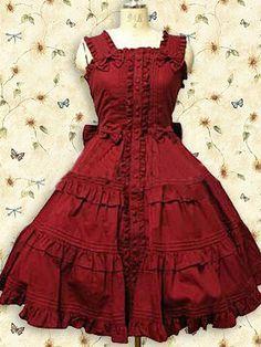 Cotton Red Ruffle Sweet Lolita Dress on www.ueelly.com