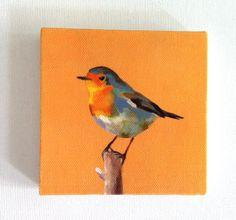 Yellow songbird / Tiny canvas print. $20.00, via Etsy.