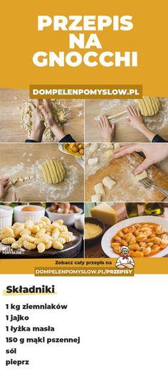 """Jak zrobić gnocchi? Przepis na gnocchi jest prostszy niż myślisz :) Jest to rodzaj włoskich klusek, które w dosłownym tłumaczeniu oznaczają """"grudy"""".  Są podobne do kopytek i bardzo smaczne :) Good Food, Yummy Food, Gnocchi, Food Inspiration, Food Porn, Pierogi, Food And Drink, Healthy Eating, Meals"""