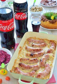 Biała kiełbasa zapiekana w sosie chrzanowym Kielbasa, Tortellini, French Toast, Bacon, Food Porn, Food And Drink, Menu, Soup, Dinner