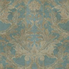 Aida Damask with Stripe Wallpaper in Blue and Gold design by York Wallcoverings - BURKE DECOR