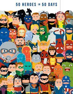 50 heroes ilustrados por Adam Thompson
