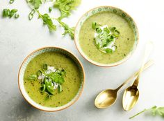 This dairy-free Creamy Vegan Arugula Soup is the perfect way to sneak more leafy greens into your day. This warm soup is ready to eat in just 30 minutes!