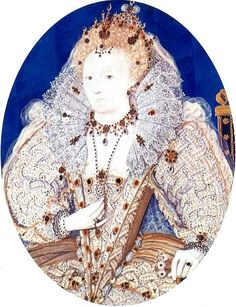 Elizabeth I by Hilliard. The Queen's jewel-encrusted gowns are thought to have been painted by Hilliard from actual garments - unlike the Queen's features which derived from his standard face-pattern. French History, British History, Tudor History, Brush Up Your Shakespeare, Renaissance Portraits, Renaissance Fashion, Tudor Era, In And Out Movie, Miniature Portraits
