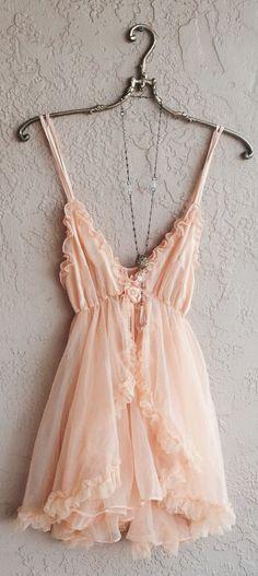 Romantic Paris boudoir peach babydoll lingerie with tulle ruffle slip and ribbon rosette detail Saved for Goddess
