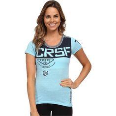 Reebok CrossFit Short Sleeve Triblend Shirt Women's T Shirt, Blue ($26) ❤  liked