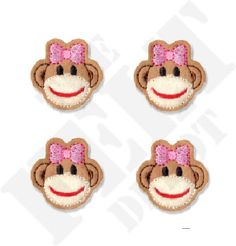Girl Sock Monkey Felt Embellishments