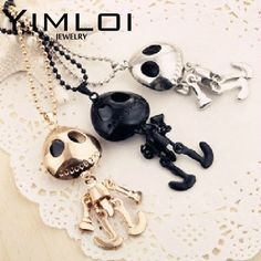 Min order$10(mix order)Free Shipping 2016 New Fashion Wholesale Big Eyes UFO Alien Necklace Cute Punk Skull Sweater #N12 22g