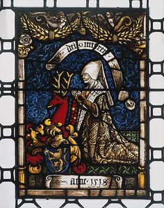 Heraldic Panel of Barbara von Zimmern, 1518. Made in Sulz am Neckar, Swabia, Germany. The Metropolitan Museum of Art, New York. The Cloisters Collection, 1930 (30.113.5) | This panel, along with its pair (30.113.6), represents the last expression of the Middle Rhenish style of the late 15th century, characterized by a strength and painterliness reminiscent of panel painting. #Cloisters