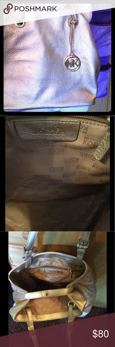 Authentic MK SATCHEL Golden foiled leather. Large bag. Can be enlarged with side snaps opening. Very new condition. No dust bag. KORS Michael Kors Bags Satchels