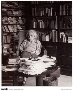 Science ©: German-American scientist Albert Einstein in his Study.