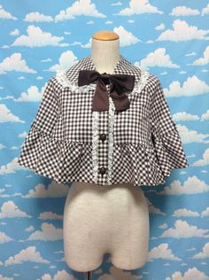 Amy Checkered Cape Jacket in Brown from Innocent World - Lolita Desu