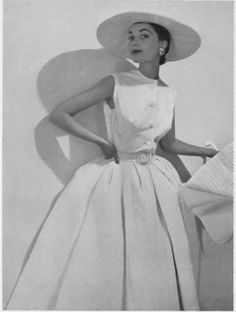 1953  Hubert de Givenchy  dress with pleated skirt
