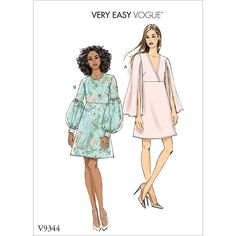 Buy Vogue Women's Dress Sewing Pattern, 9344 from our Sewing Patterns range at John Lewis & Partners. Vogue Patterns, Dress Sewing Patterns, Clothing Patterns, Patron Simplicity, Patron Butterick, Sewing Blogs, Sewing Tips, Sewing Tutorials, Sewing Hacks