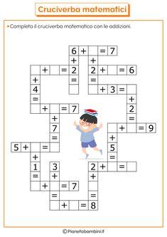 Krzyżówka mathematyczna z dodawaniem i odejmowaniem PianetaBambini. First Grade Math Worksheets, Kindergarten Math Activities, Preschool Printables, 1st Grade Math, Homeschool Math, Math For Kids, Fun Math, Math Math, Math Books