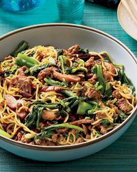 Asian Noodles with Roast Pork Recipe from Food & Wine/Bryant Ng. Traditional Singaporean dish is a savory mix of tasty noodles, Chinese broccoli and pork Asian Noodle Recipes, Asian Recipes, Ethnic Recipes, Healthy Recipes, Savoury Recipes, Chinese Recipes, Healthy Eats, Wine Recipes, Great Recipes