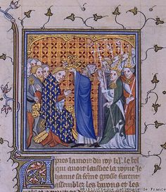 Edward III's Coronation.  Roger Mortimer, 1st Earl of March, was the lover of Queen Isabella, the She-Wolf. Together they overthrew Isabella's husband Edward II in 1326-27 and ruled England together for about 3 years, until Isabella's son Prince Edward got fed up and took over himself as Edward III. He promptly had Mortimer hanged and his mother imprisoned.