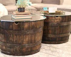 Whiskey barrel table | Etsy #barreltable,#reclaimedwoodcoffeetable,#winebarreltable,#whiskeybarreltable,#barrelendtable,#whiskeybarrelcoffeetable,#coffeetable,#barrelfurniture, #winebarrel,#winebarreltable, #whiskeybarreltable,#reclaimedwood Whiskey Barrel Coffee Table, Handmade Furniture, Upcycled Furniture, Open Cabinets, White Oak, Wood Colors, Diy Home Decor, Etsy, Barrels