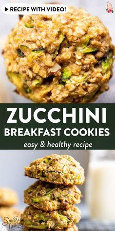 Zucchini Breakfast, Healthy Breakfast On The Go, Zucchini Bread, Best Zucchini Recipes, Easy Healthy Recipes, Vegetable Recipes, Brunch Recipes, Breakfast Recipes, Breakfast Cookie Recipe