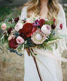 deep red boho bouquet