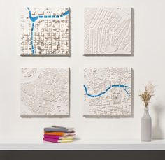 3D maps in plaster at a scale of 1:5000: Chicago, Amsterdam, Venice and Berlin.