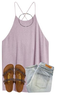 """""""what a sad week"""" by ponyboysgirlfriend ❤ liked on Polyvore featuring H&M, Denham, Birkenstock and Dogeared"""