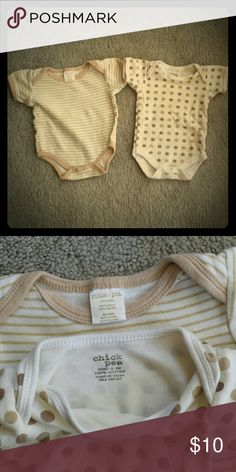 2 0-3month Unisex Onesies 1 cream onesie with tan stripes, 0-3month, Cutie Pie  1 cream onesie with tan and brown polka dots, 0-3month, Chick Pea  #offwhite #tan #cream #beige #cream #neutral #Unisex #genderneutral #babyboy #babygirl #newborn #3months #gift #babyshower #baby #simple #timeless #classic #stripes #striped #polkadots #dots Chick Pea One Pieces Bodysuits