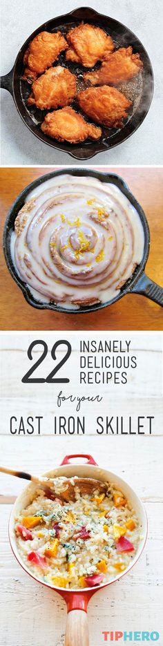 22 Insanely Delicious Recipes for your Cast Iron Skillet | Never would we think of making artichoke spinach dip, pizza, lasagna or orange-spiced rolls in a skillet. But this collection of recipes shows that there are many delicious apps, mains, and desserts waiting to be cooked up in your trusty pan. The only questions is, which one will you try first? Click for the full list.#familydinner #homecooking #recipeideas #easyrecipes