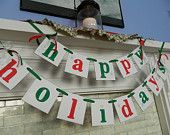 Merry CHRISTMAS Banner Holiday Mantle Garland Holiday Photo Prop Vintage Inspired Holiday Banner Christmas Banners Garlands. $25.00, via Etsy.