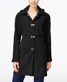 London Fog Clip-Front Hooded Raincoat, Only at Macy's