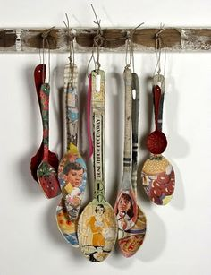 Paper spoons - you could Mod Podge them, and it would make a rather lovely and interesting kitchen display. What do you think?