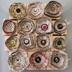 Handmade Linen brooches - fiber, fabric, textile accesories