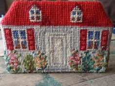 Vintage Needlepoint House Doorstop