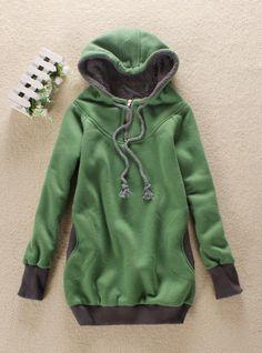 Grass Green Zipper Hooded Sweatshirt$37.00