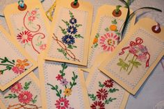 8 Vintage Embroidery Gift Tags. $12.00, via Etsy.